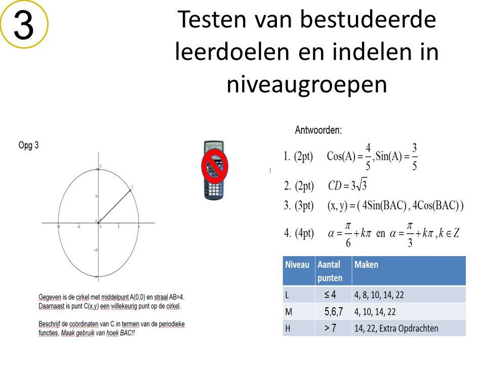 Testen van bestudeerde leerdoelen en indelen in niveaugroepen