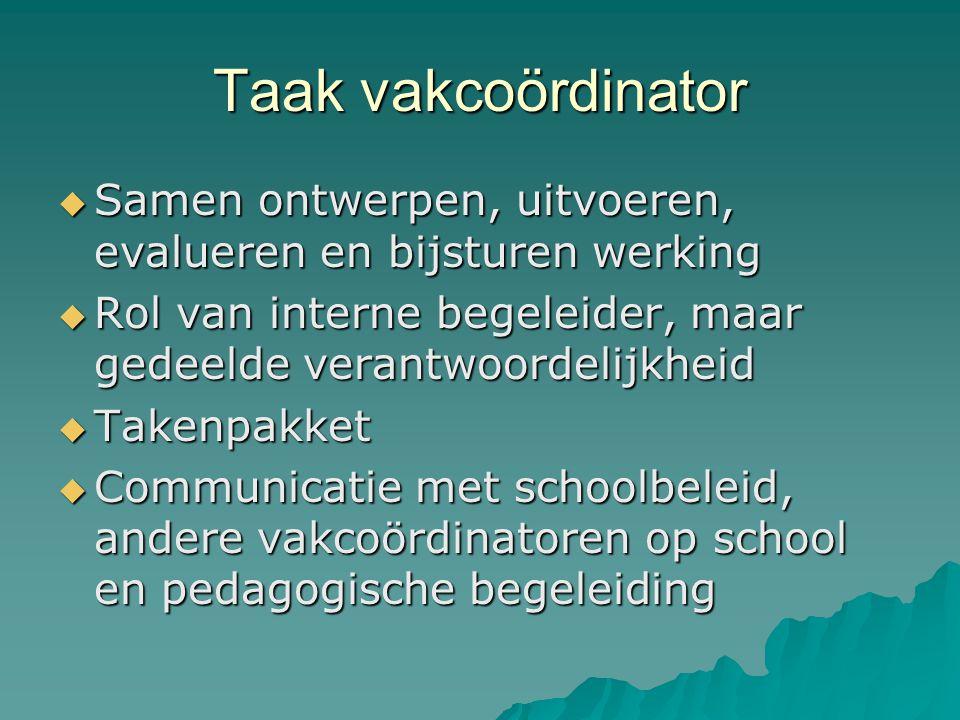 Taak vakcoördinator Samen ontwerpen, uitvoeren, evalueren en bijsturen werking. Rol van interne begeleider, maar gedeelde verantwoordelijkheid.