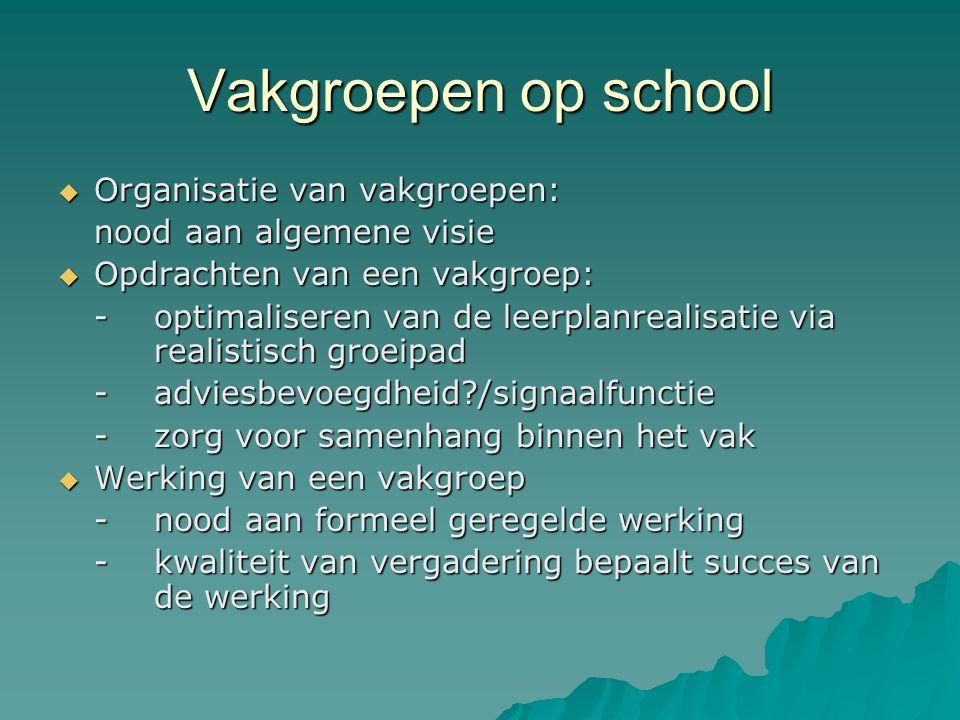 Vakgroepen op school Organisatie van vakgroepen: