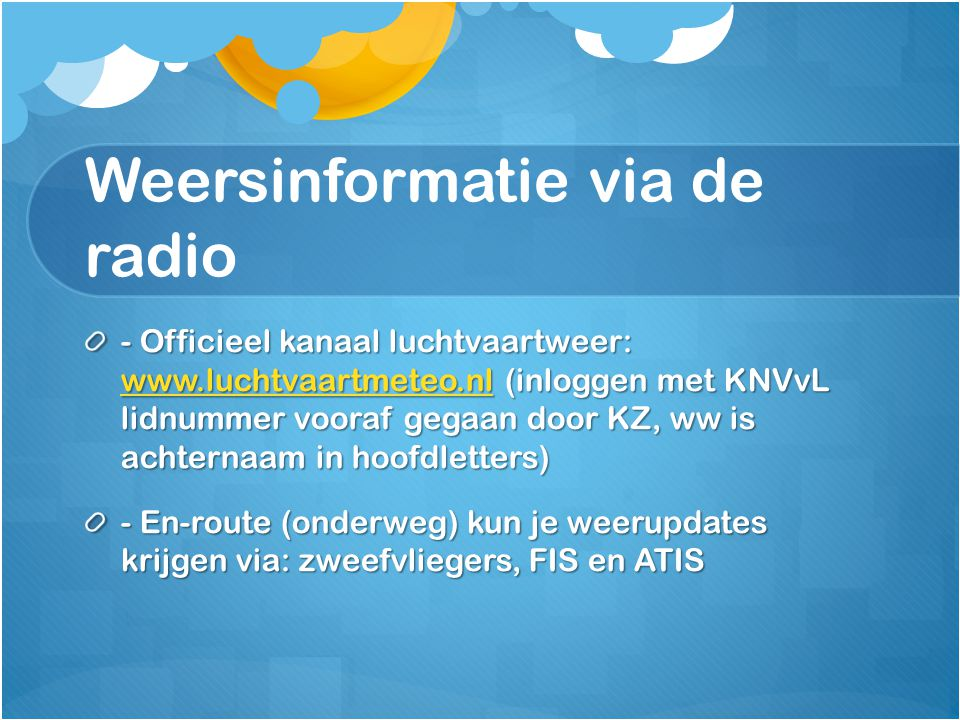 Weersinformatie via de radio
