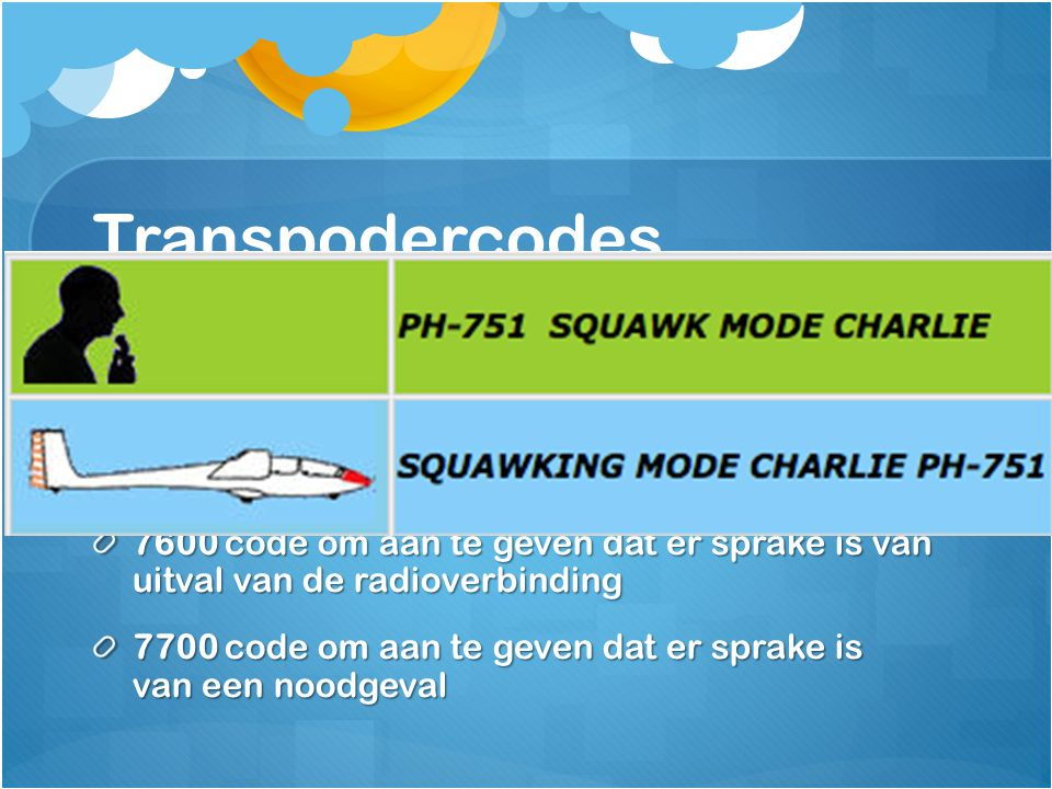 Transpodercodes 7000 Voor vliegen in ongecontroleerd gebied