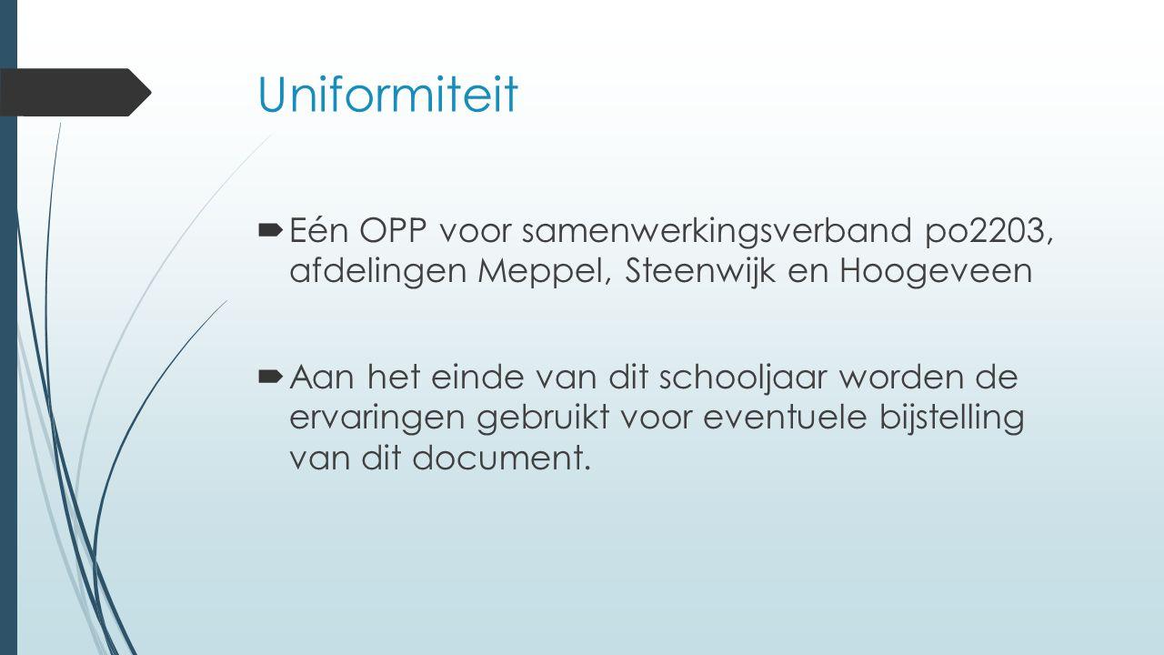 Uniformiteit Eén OPP voor samenwerkingsverband po2203, afdelingen Meppel, Steenwijk en Hoogeveen.