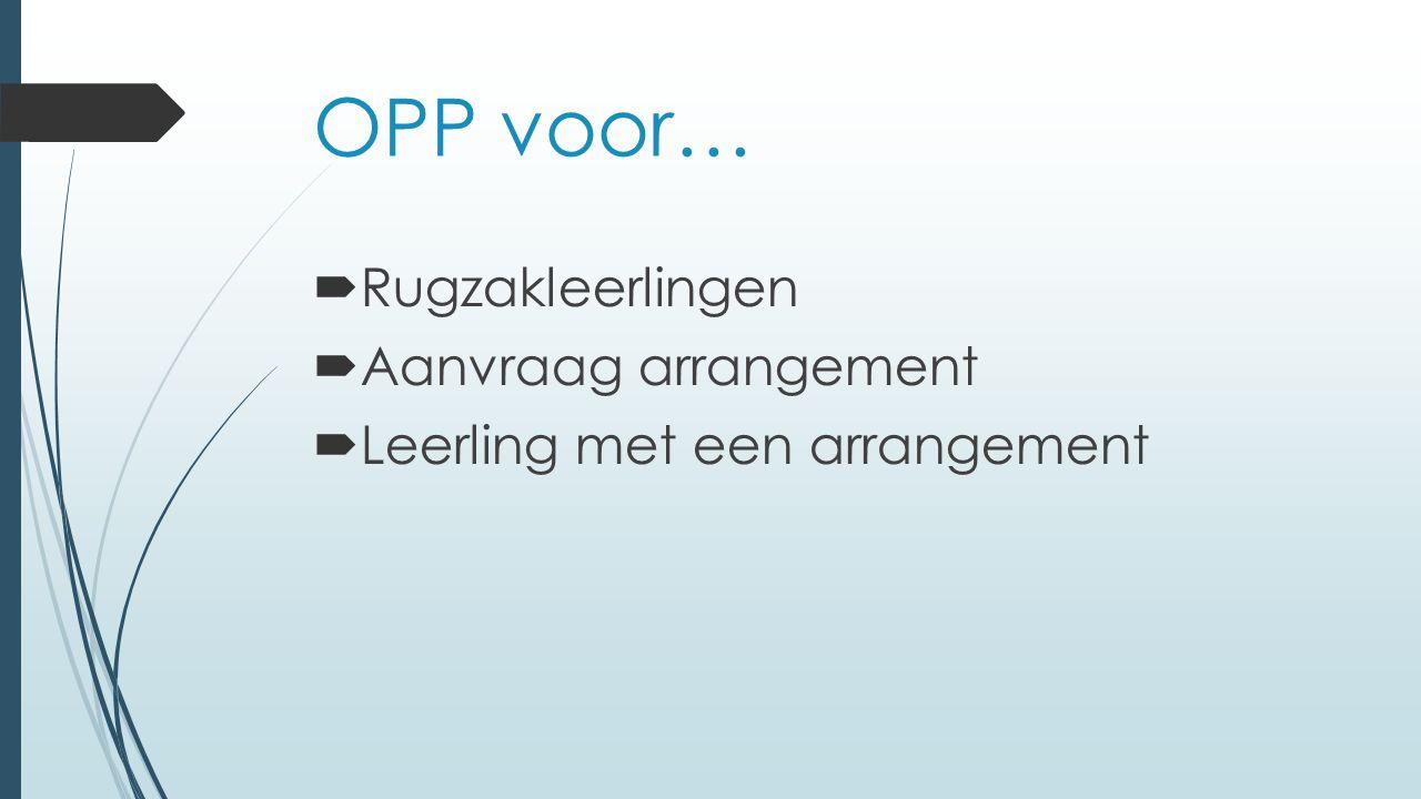 OPP voor… Rugzakleerlingen Aanvraag arrangement