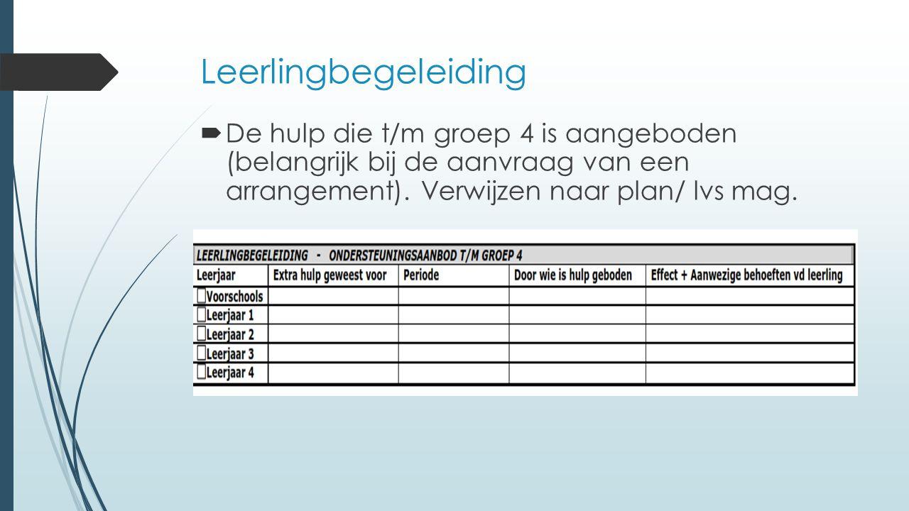 Leerlingbegeleiding De hulp die t/m groep 4 is aangeboden (belangrijk bij de aanvraag van een arrangement).