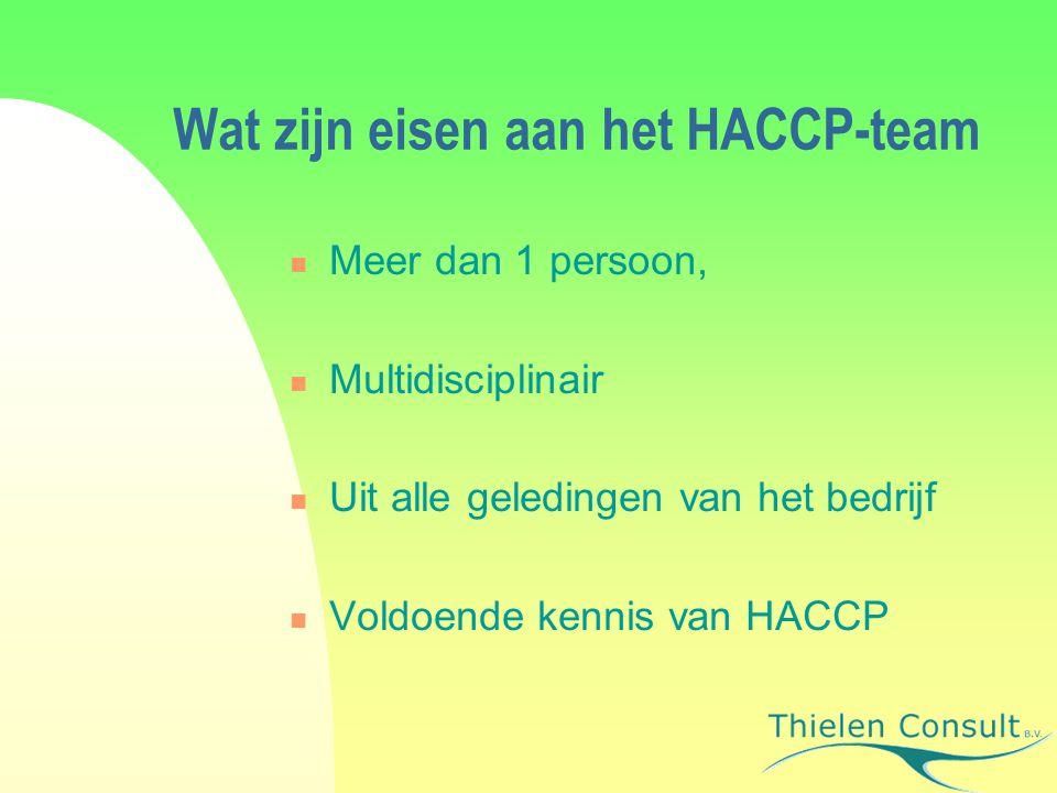 Wat zijn eisen aan het HACCP-team