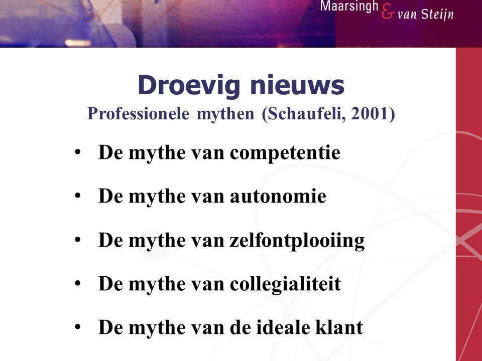 Droevig nieuws Professionele mythen (Schaufeli, 2001)