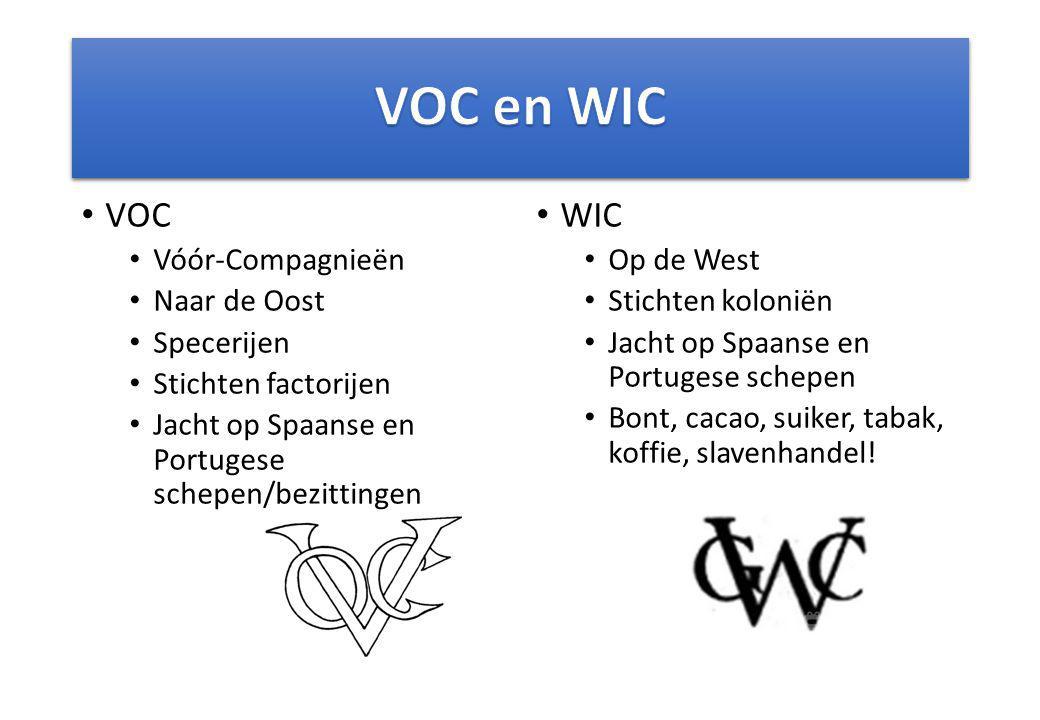 VOC en WIC VOC WIC Vóór-Compagnieën Naar de Oost Specerijen