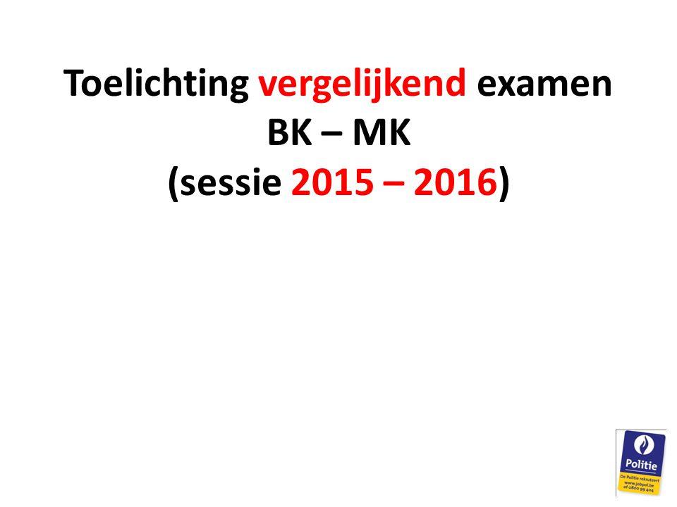 Toelichting vergelijkend examen BK – MK (sessie 2015 – 2016)