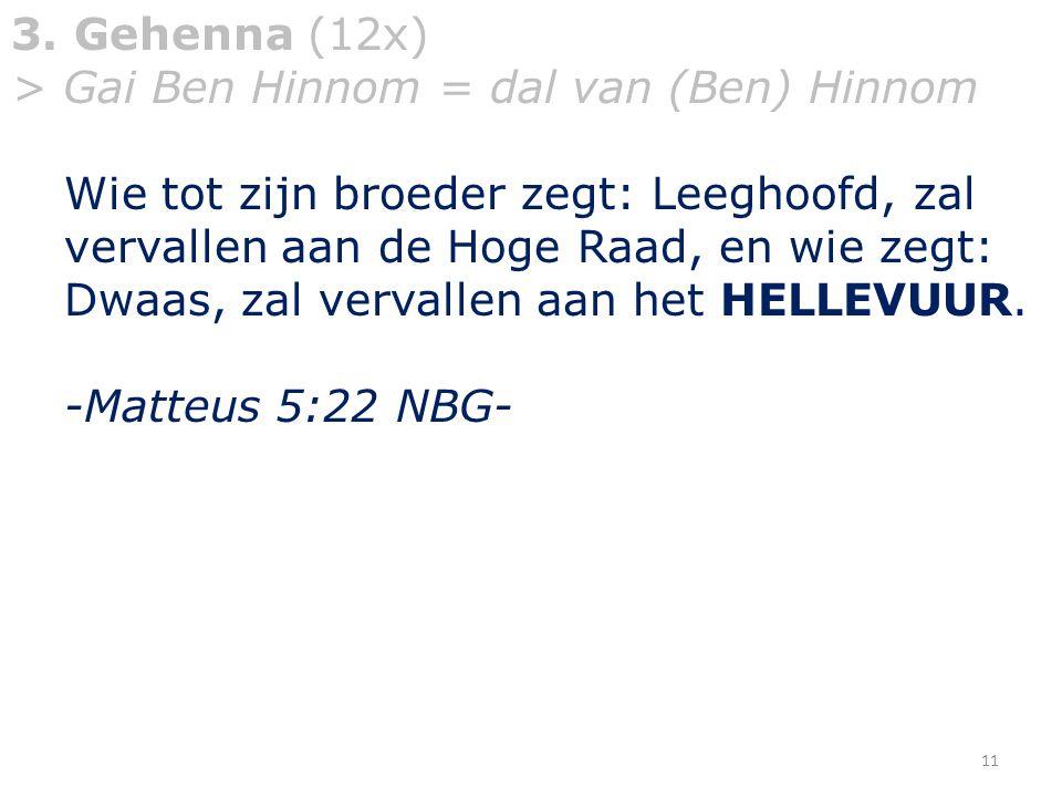 3. Gehenna (12x) > Gai Ben Hinnom = dal van (Ben) Hinnom.