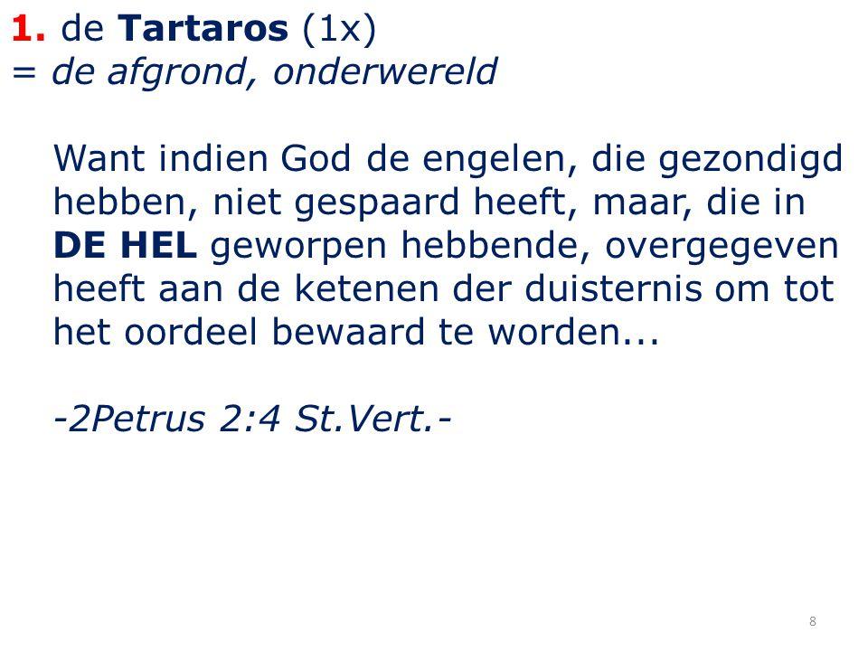 1. de Tartaros (1x) = de afgrond, onderwereld