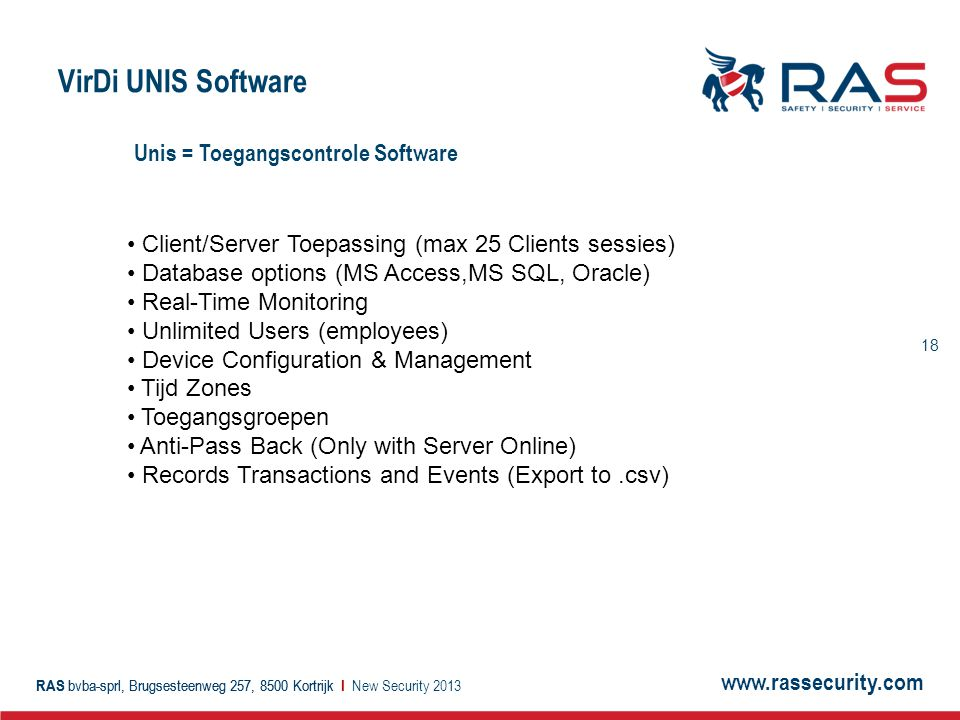 VirDi UNIS Software Unis = Toegangscontrole Software