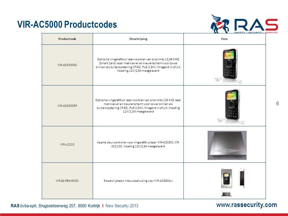 Roestvrijstalen inbouwbehuizing voor VIR-AC5000xx