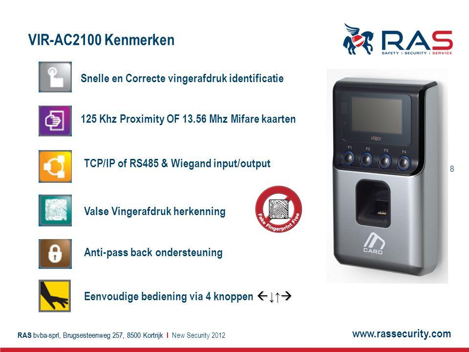 VIR-AC2100 Kenmerken Snelle en Correcte vingerafdruk identificatie