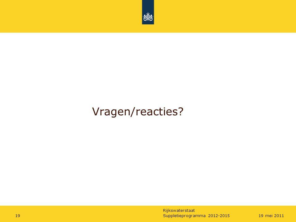 Vragen/reacties Suppletieprogramma 2012-2015 19 mei 2011