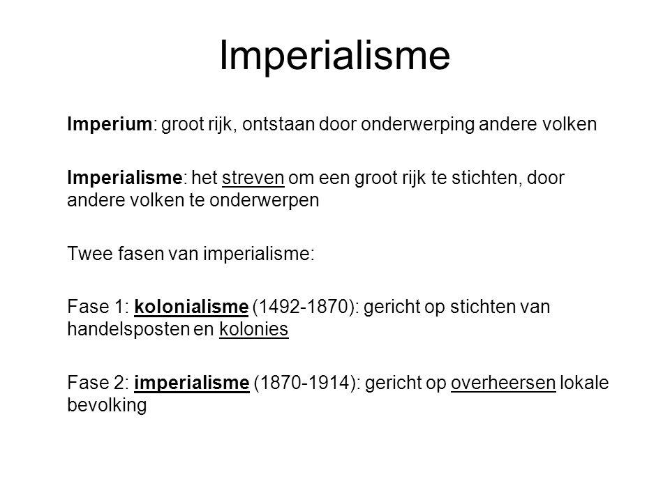 Imperialisme Imperium: groot rijk, ontstaan door onderwerping andere volken.