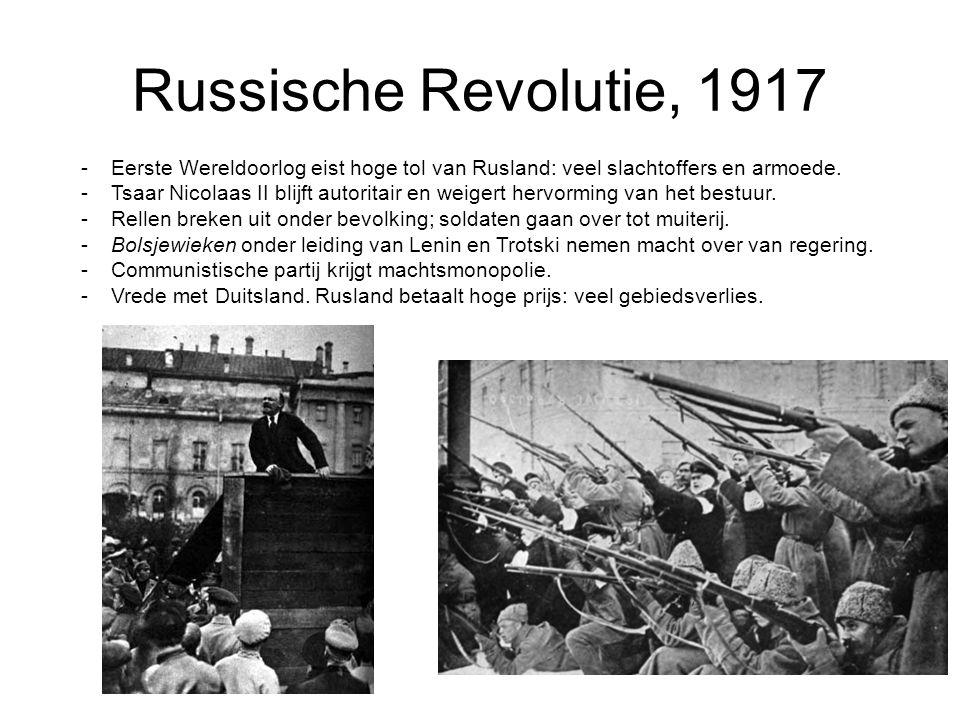 Russische Revolutie, 1917 Eerste Wereldoorlog eist hoge tol van Rusland: veel slachtoffers en armoede.