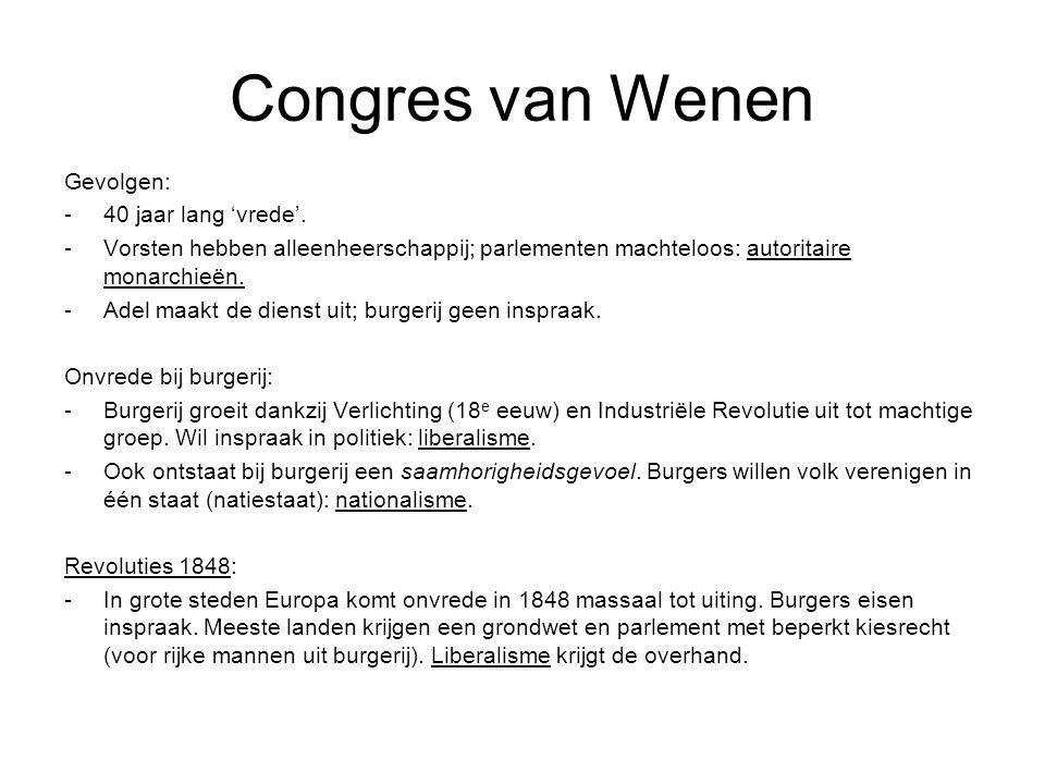 Congres van Wenen Gevolgen: 40 jaar lang 'vrede'.