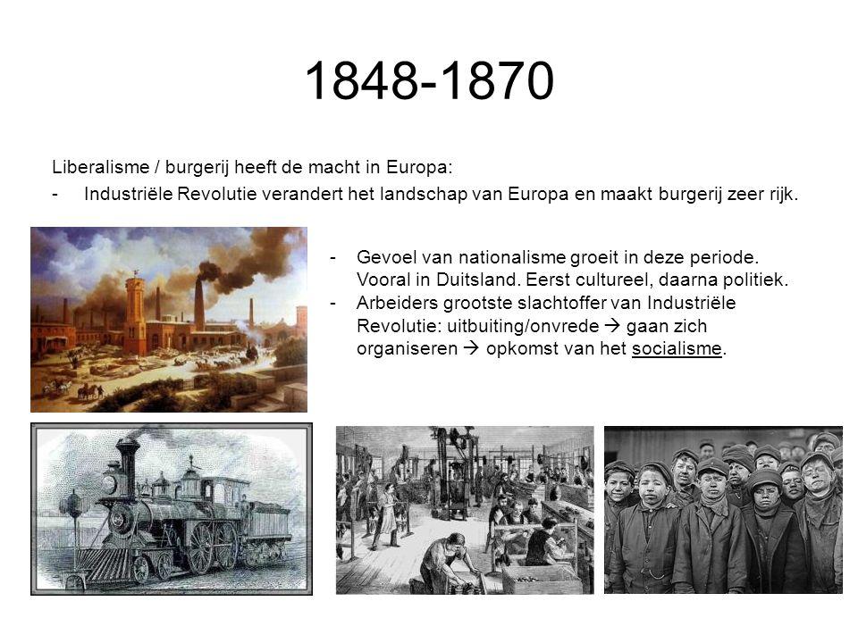 1848-1870 Liberalisme / burgerij heeft de macht in Europa: