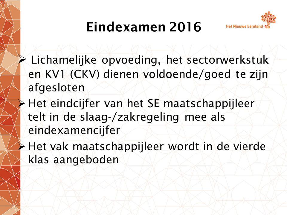 Eindexamen 2016 Lichamelijke opvoeding, het sectorwerkstuk en KV1 (CKV) dienen voldoende/goed te zijn afgesloten.