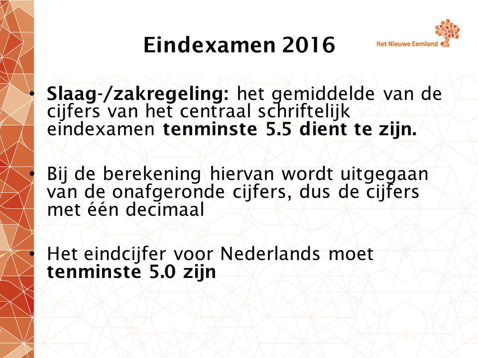 Eindexamen 2016 Slaag-/zakregeling: het gemiddelde van de cijfers van het centraal schriftelijk eindexamen tenminste 5.5 dient te zijn.