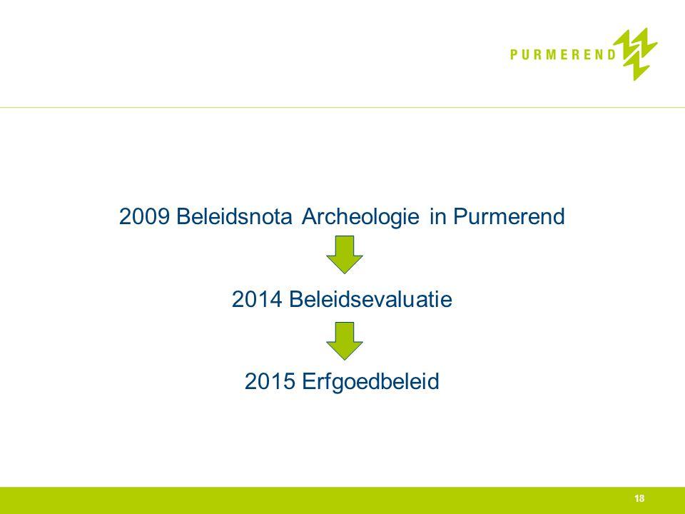 8-4-2017 2009 Beleidsnota Archeologie in Purmerend 2014 Beleidsevaluatie 2015 Erfgoedbeleid