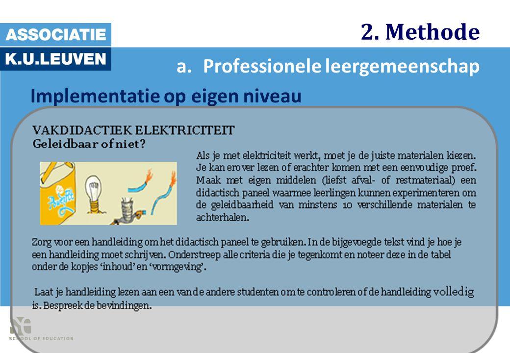 2. Methode Professionele leergemeenschap Implementatie op eigen niveau