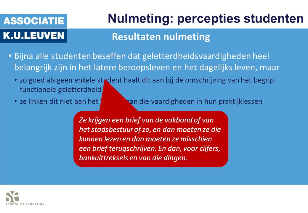 Nulmeting: percepties studenten