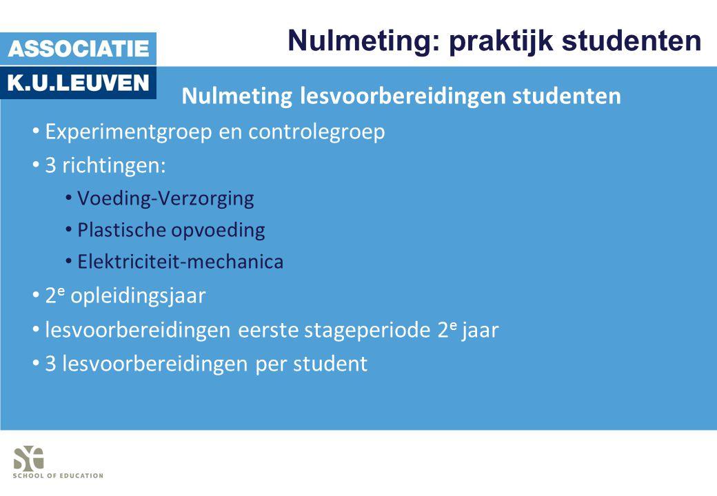 Nulmeting: praktijk studenten