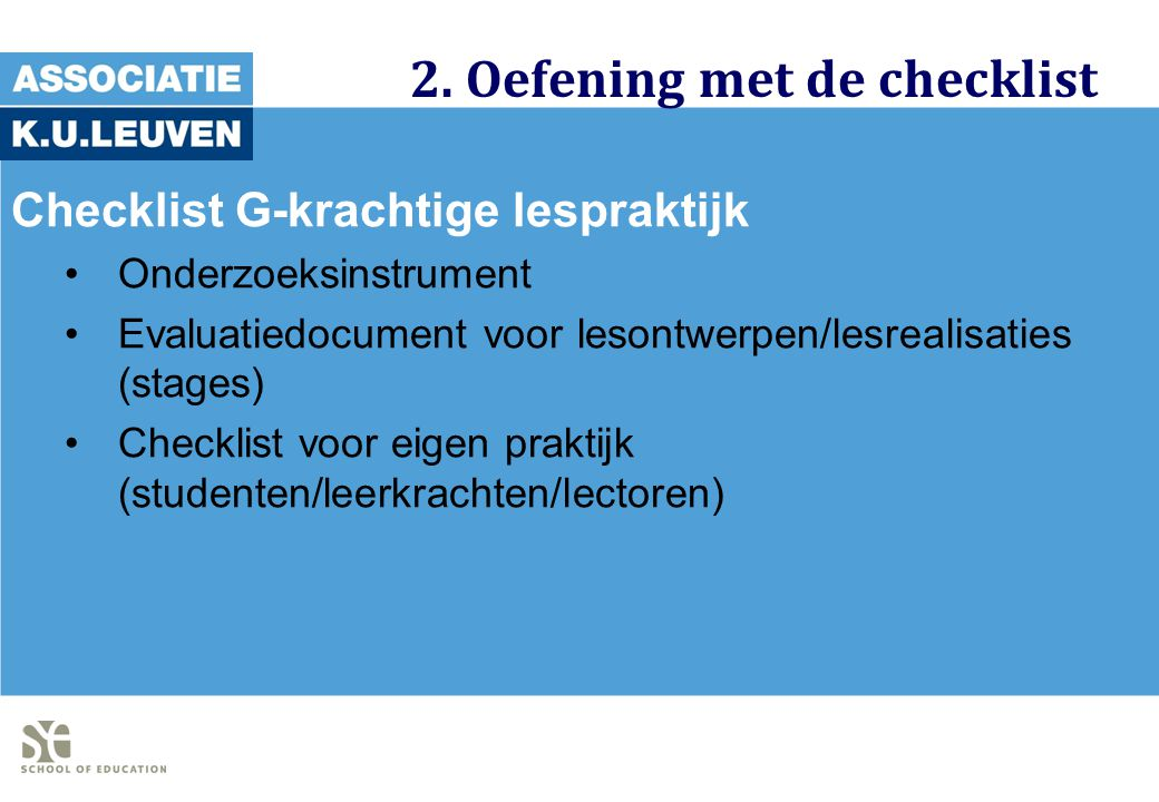 2. Oefening met de checklist