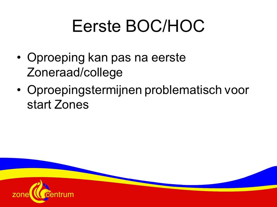 Eerste BOC/HOC Oproeping kan pas na eerste Zoneraad/college