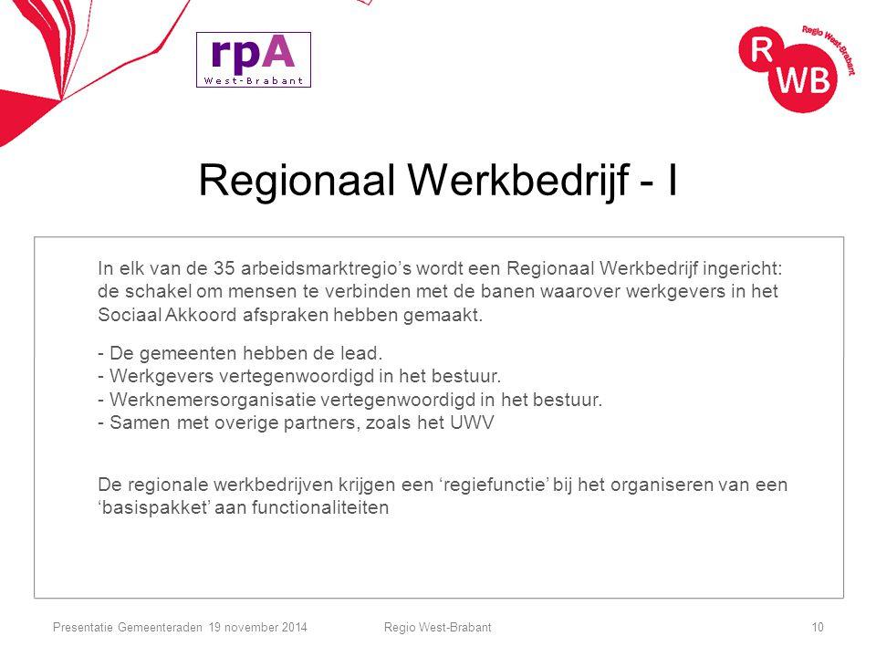 Regionaal Werkbedrijf - I