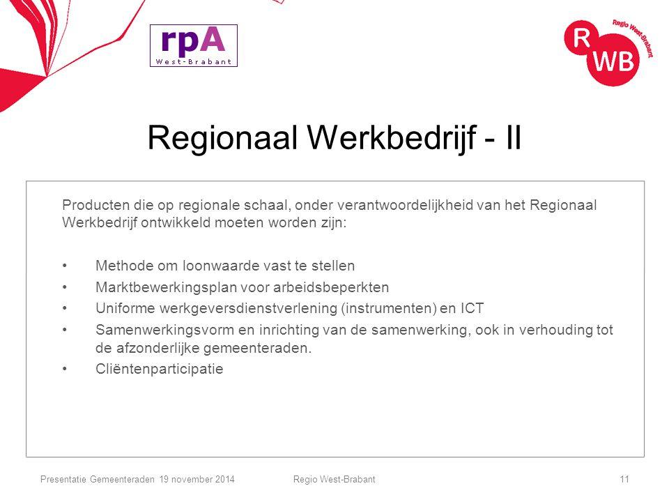 Regionaal Werkbedrijf - II