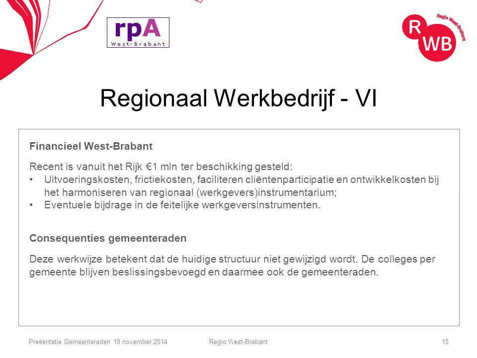 Regionaal Werkbedrijf - VI