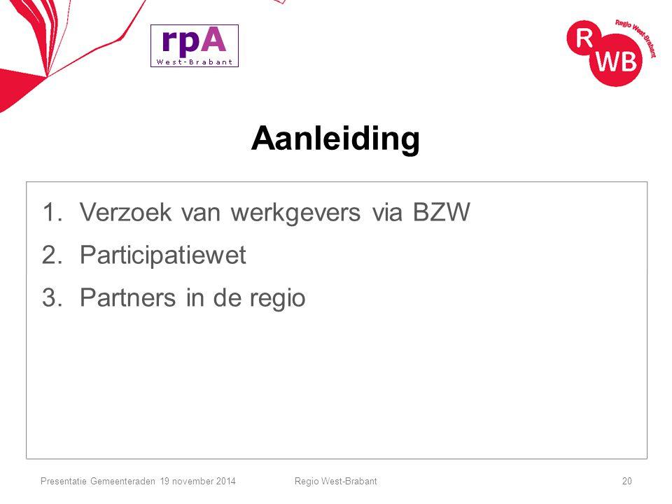 Aanleiding Verzoek van werkgevers via BZW Participatiewet