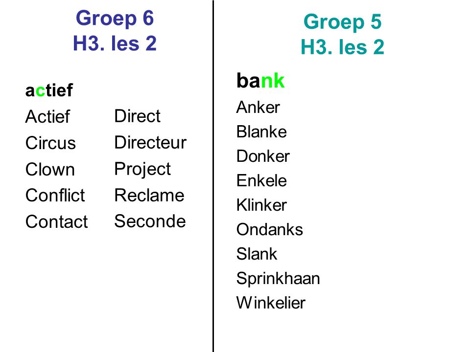 Groep 6 H3. les 2 Groep 5 H3. les 2 bank actief Actief Circus Direct