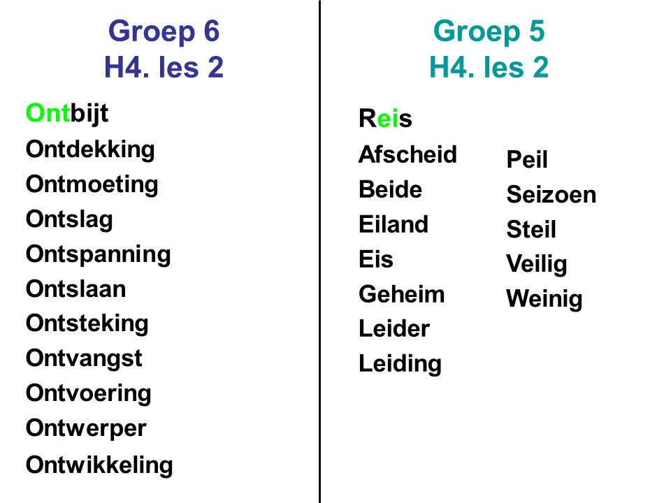 Groep 6 H4. les 2 Groep 5 H4. les 2 Ontbijt Reis Ontdekking Afscheid