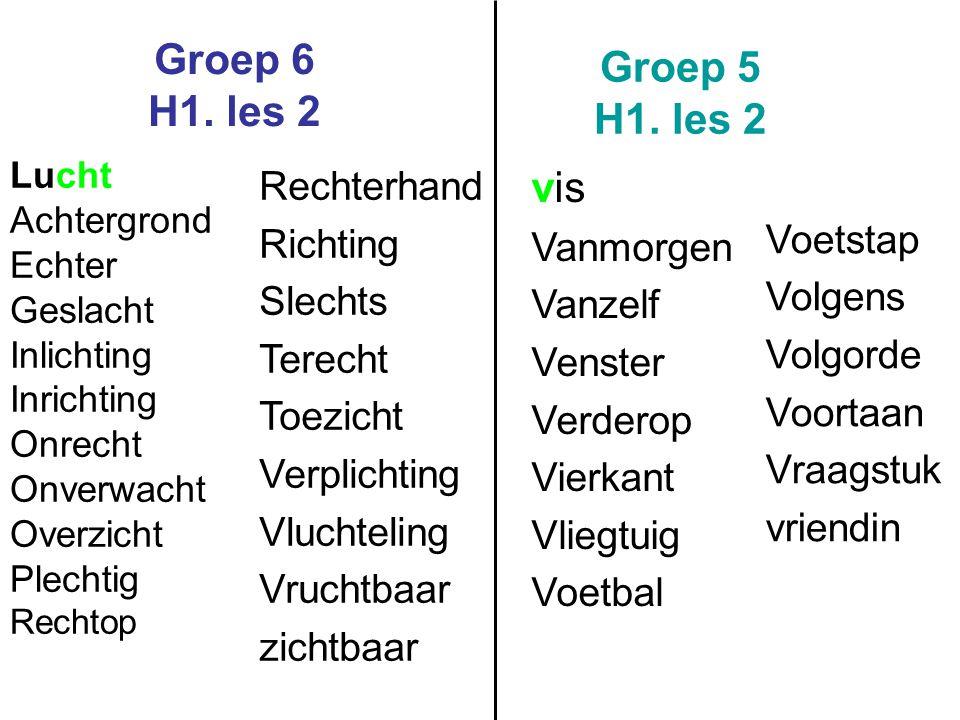 Groep 6 H1. les 2 Groep 5 H1. les 2 vis Rechterhand Voetstap Richting