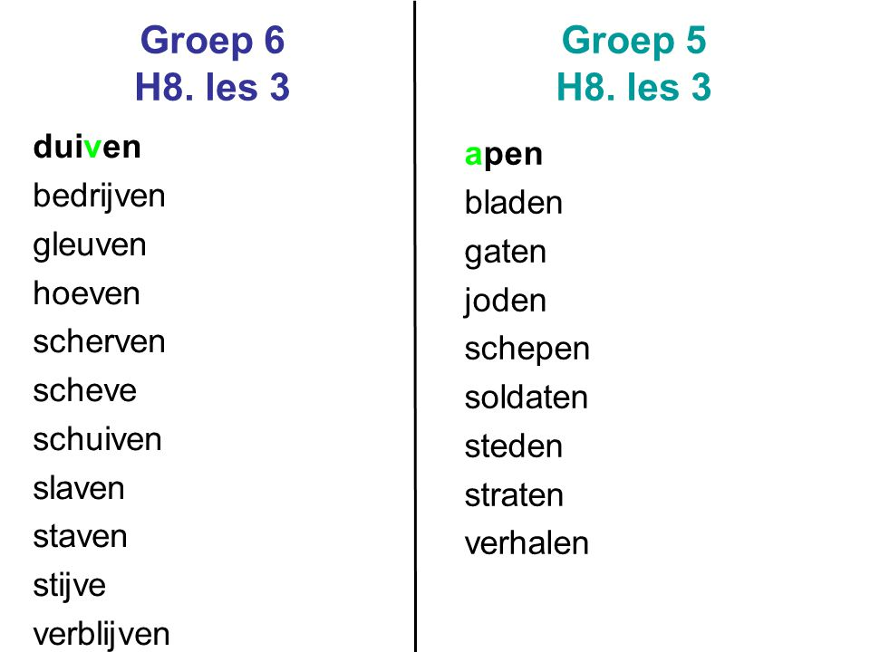 Groep 6 H8. les 3 Groep 5 H8. les 3 duiven apen bedrijven bladen