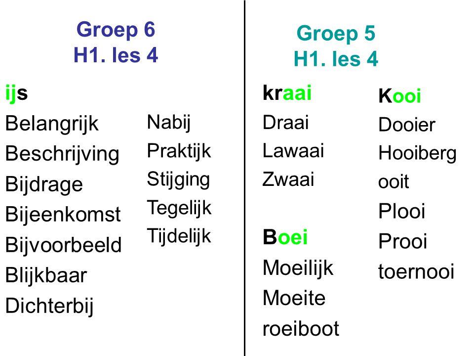 Groep 6 H1. les 4 Groep 5 H1. les 4 ijs kraai Belangrijk Beschrijving