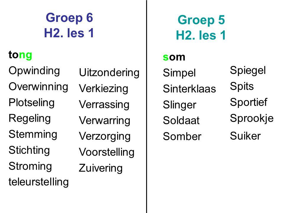 Groep 6 H2. les 1 Groep 5 H2. les 1 tong som Opwinding Simpel