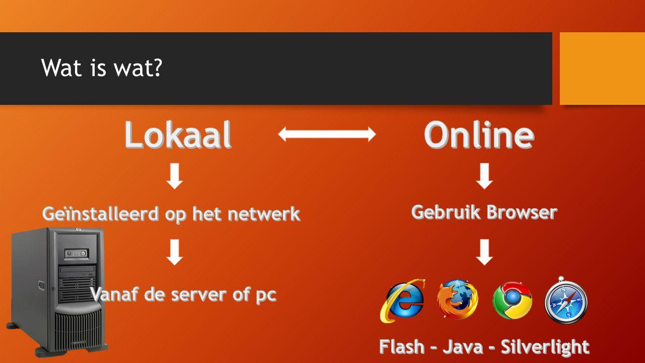 Geïnstalleerd op het netwerk Flash – Java - Silverlight
