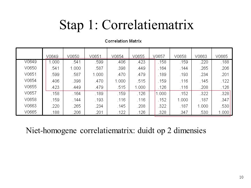 Stap 1: Correlatiematrix