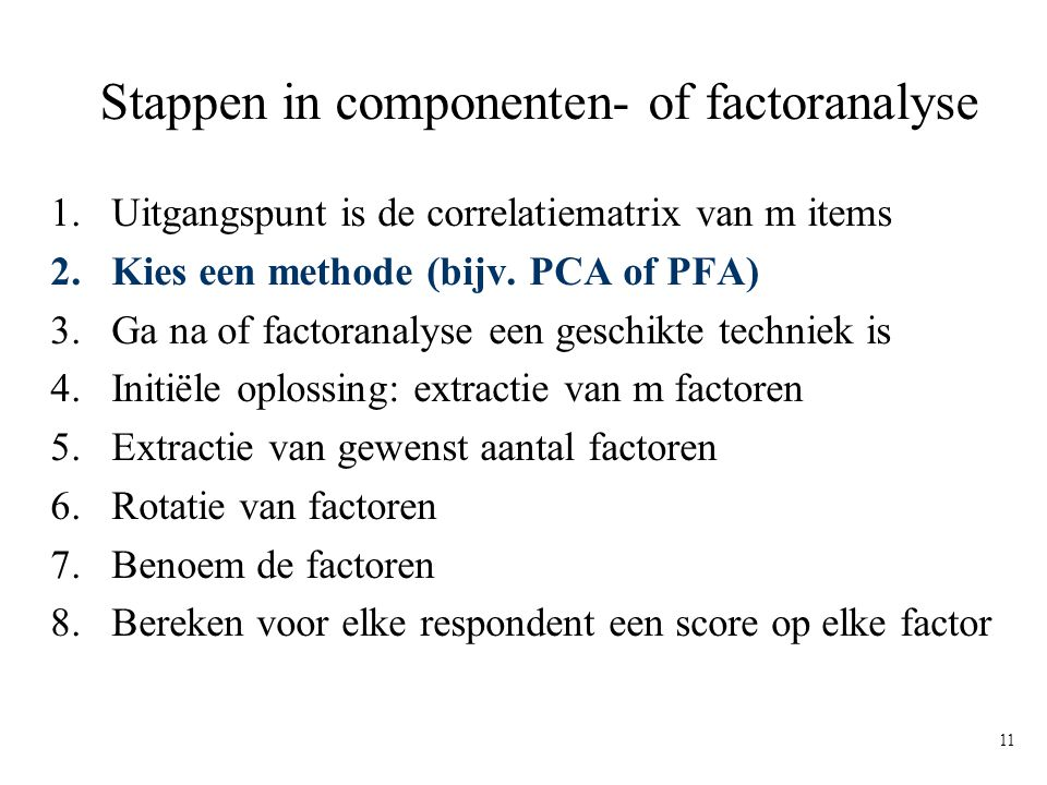 Stappen in componenten- of factoranalyse