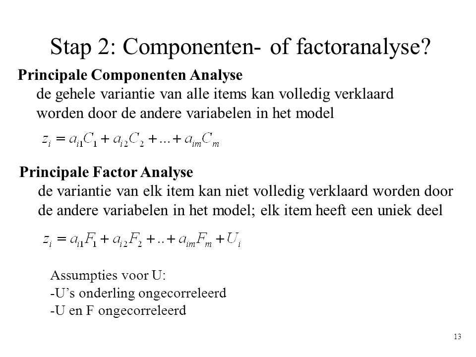 Stap 2: Componenten- of factoranalyse