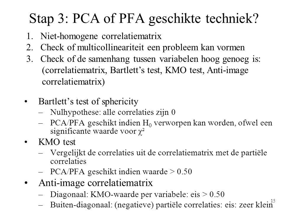 Stap 3: PCA of PFA geschikte techniek