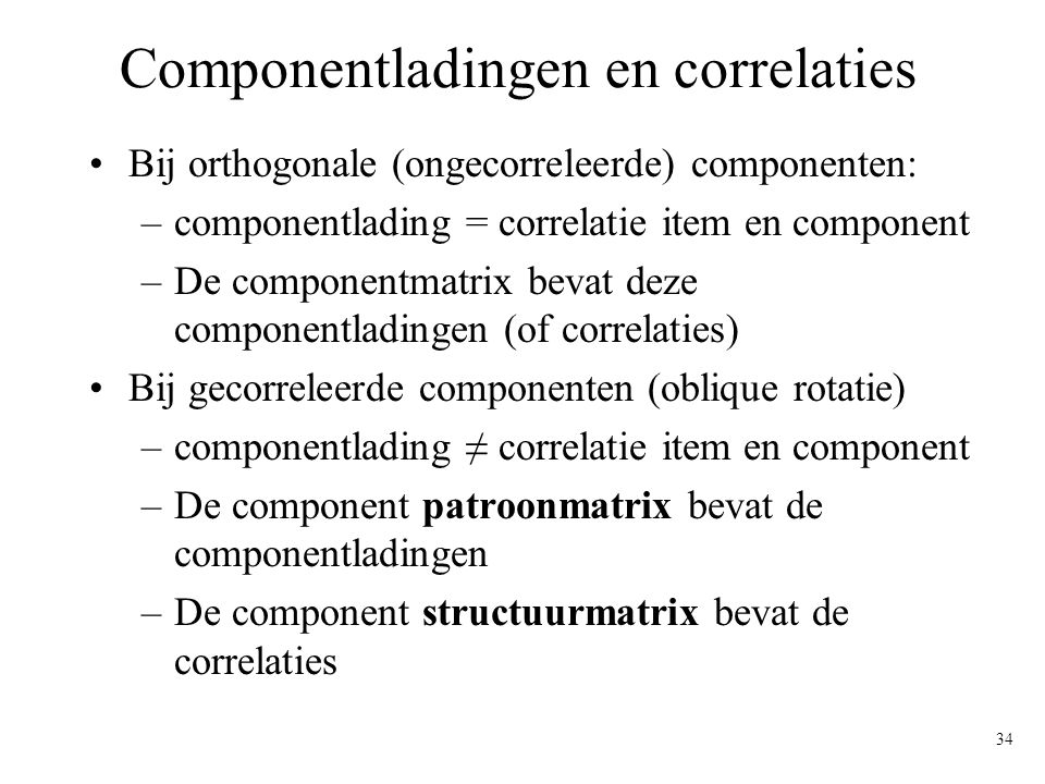 Componentladingen en correlaties