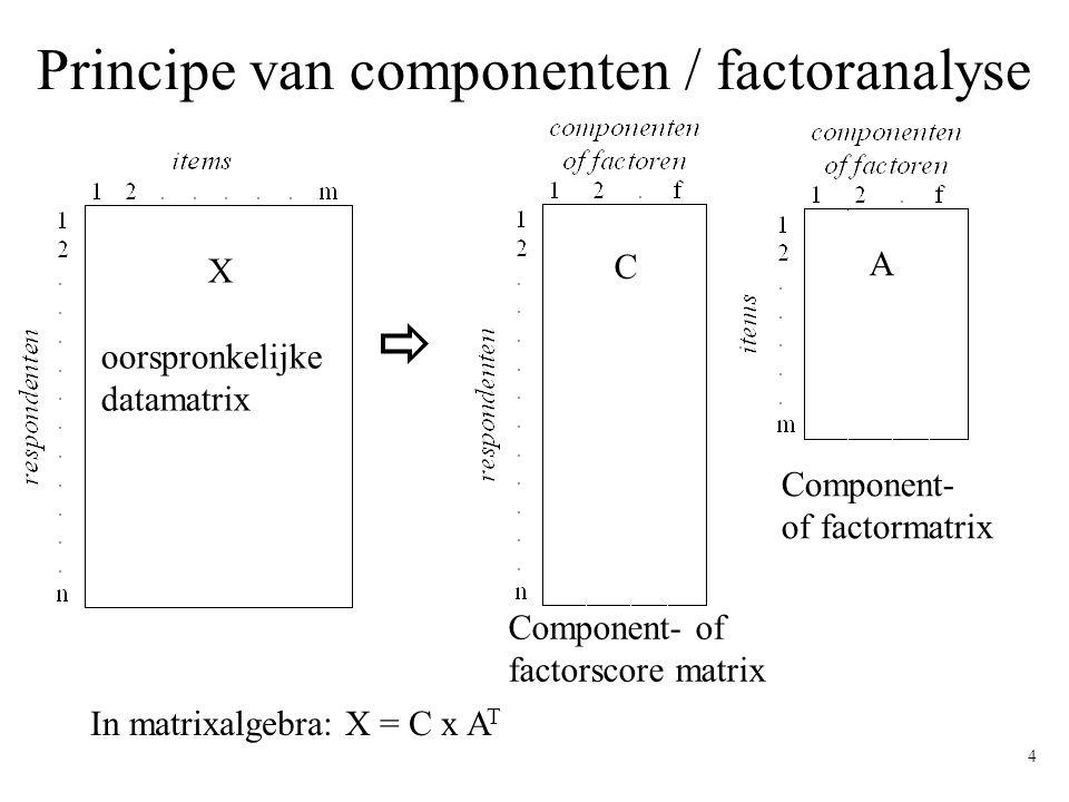 Principe van componenten / factoranalyse