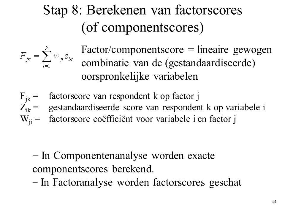 Stap 8: Berekenen van factorscores (of componentscores)