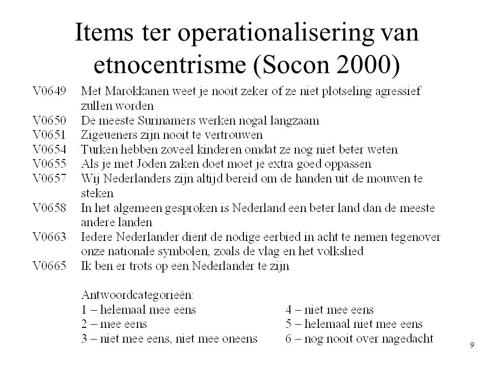 Items ter operationalisering van etnocentrisme (Socon 2000)