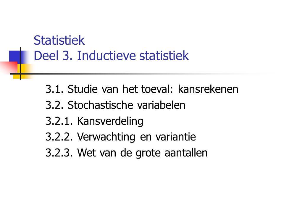 Statistiek Deel 3. Inductieve statistiek